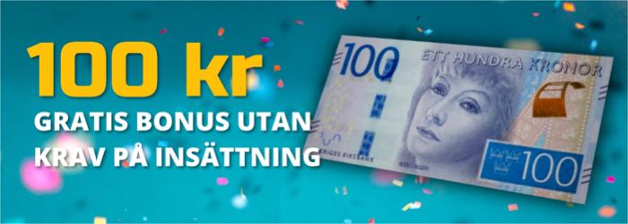 100 kr gratis casino bonusar